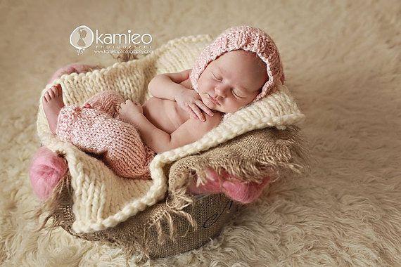 Payton pants and bonnet set knit pattern newborn pants baby photo prop