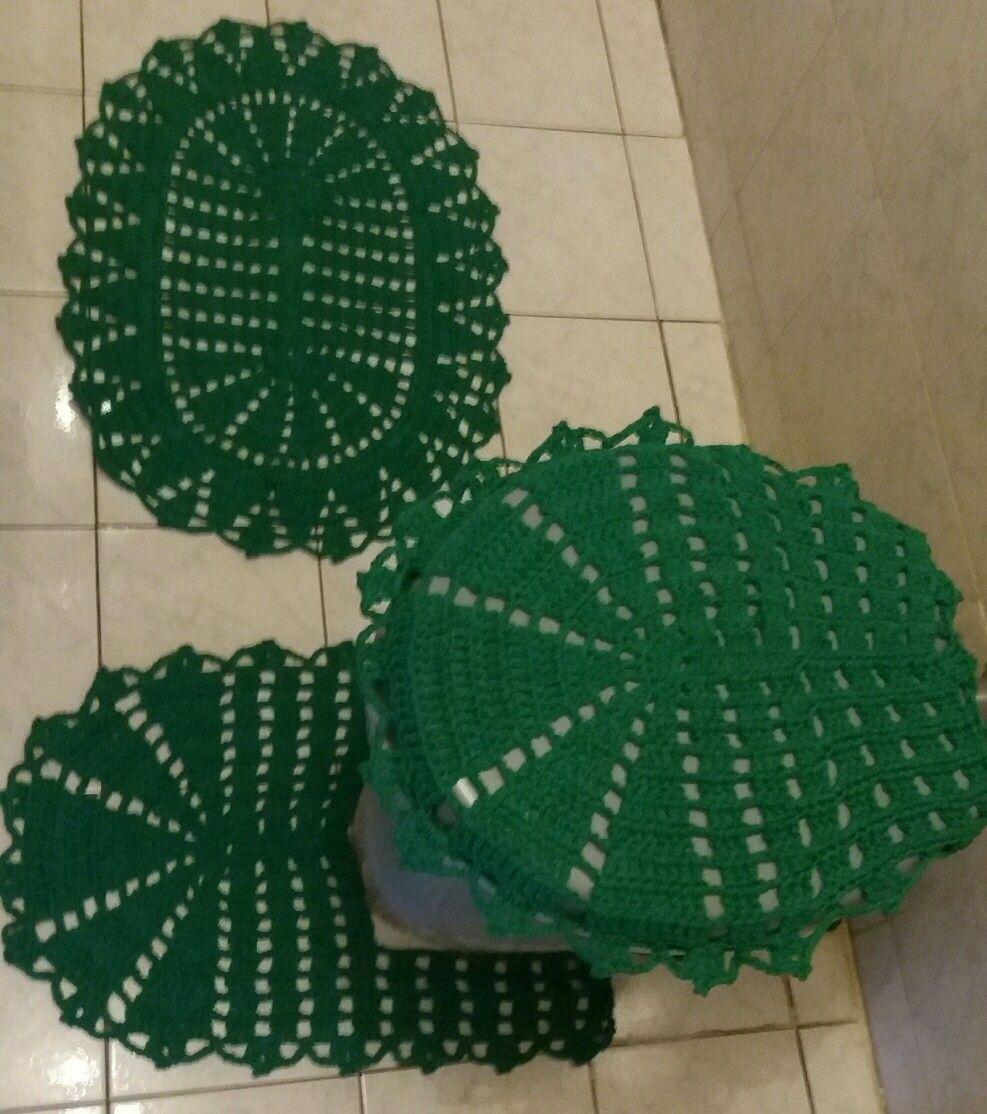 Jogo Banheiro 3 Pecas De Croche Verde Bandeira Com Imagens