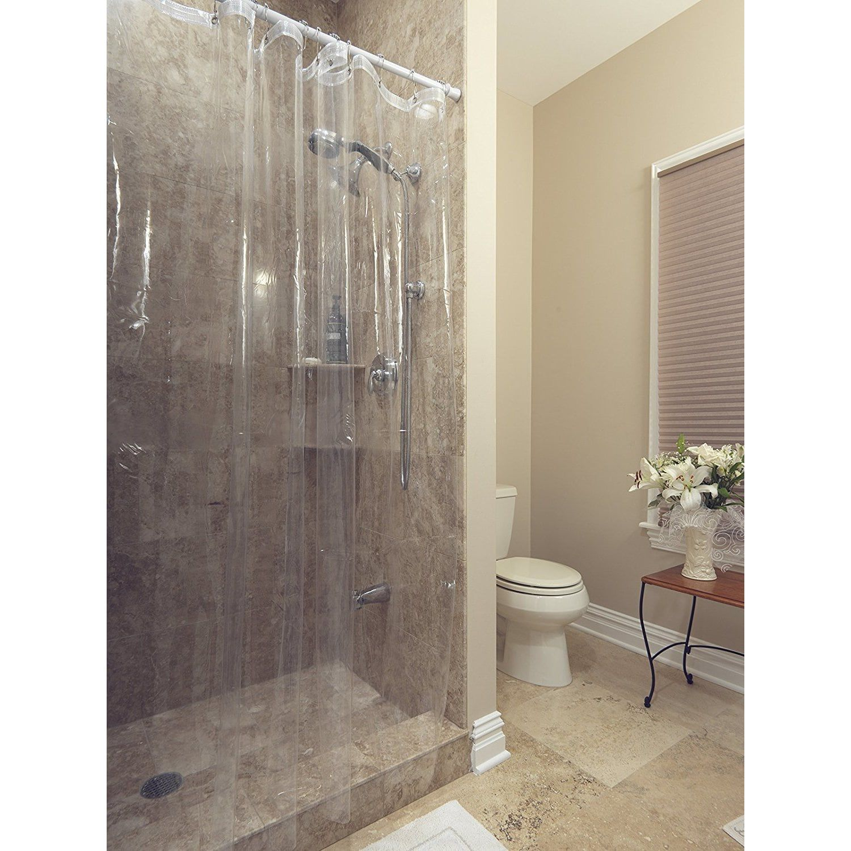 Ottomanson Durable Heavy Duty 10 Gauge Clear Shower Curtain