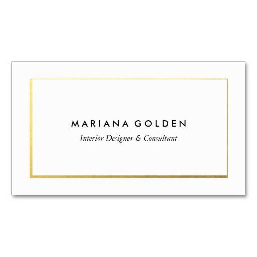 Gold foil border on white business card template card pinterest gold foil border on white business card template fbccfo Images