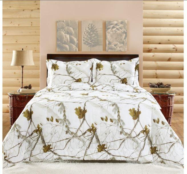 Snow camo bedroom decor
