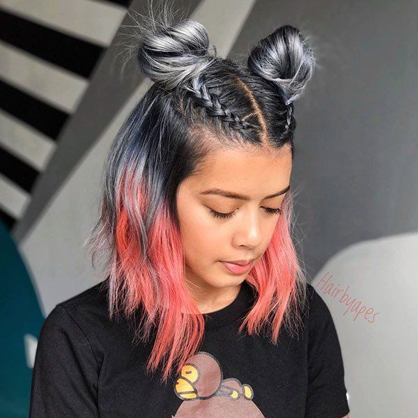 Two Buns With Braids Elegant Short Hair Bun Ideas 2019 Short Hair Bun Cute Hairstyles For Short Hair Festival Hair