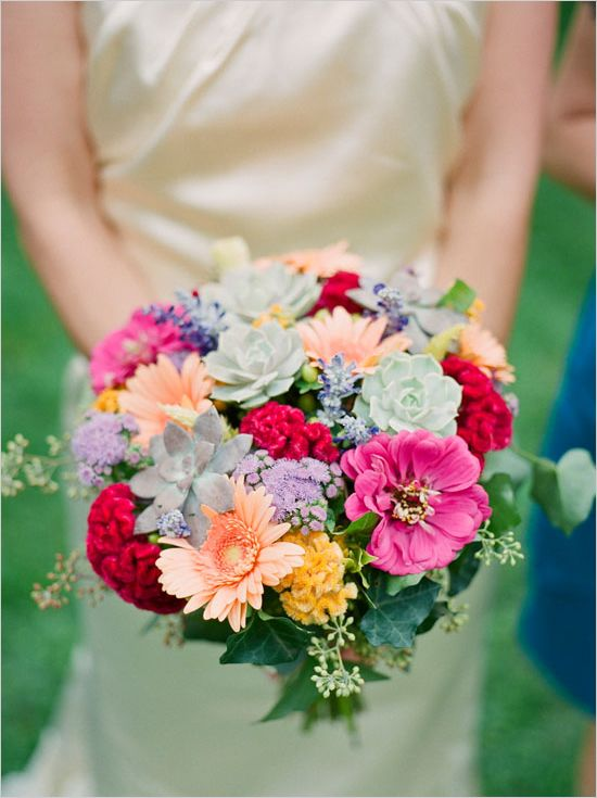 LOVE THESE FLOWERS for the CENTERPIECE.  Pastel wedding boquet with Succulents.