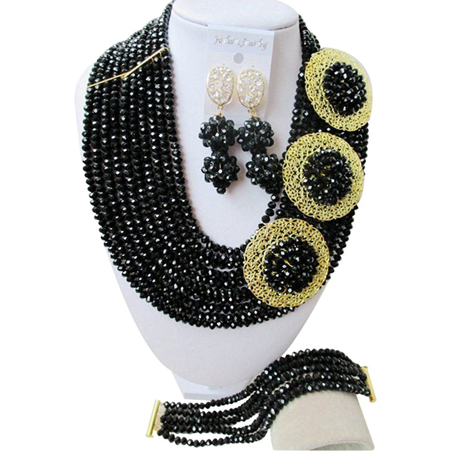 laanc 10 Rows Black 6mm African Beads Jewelry Set,Nigerian Wedding Beads Jewellery Sets A-023A