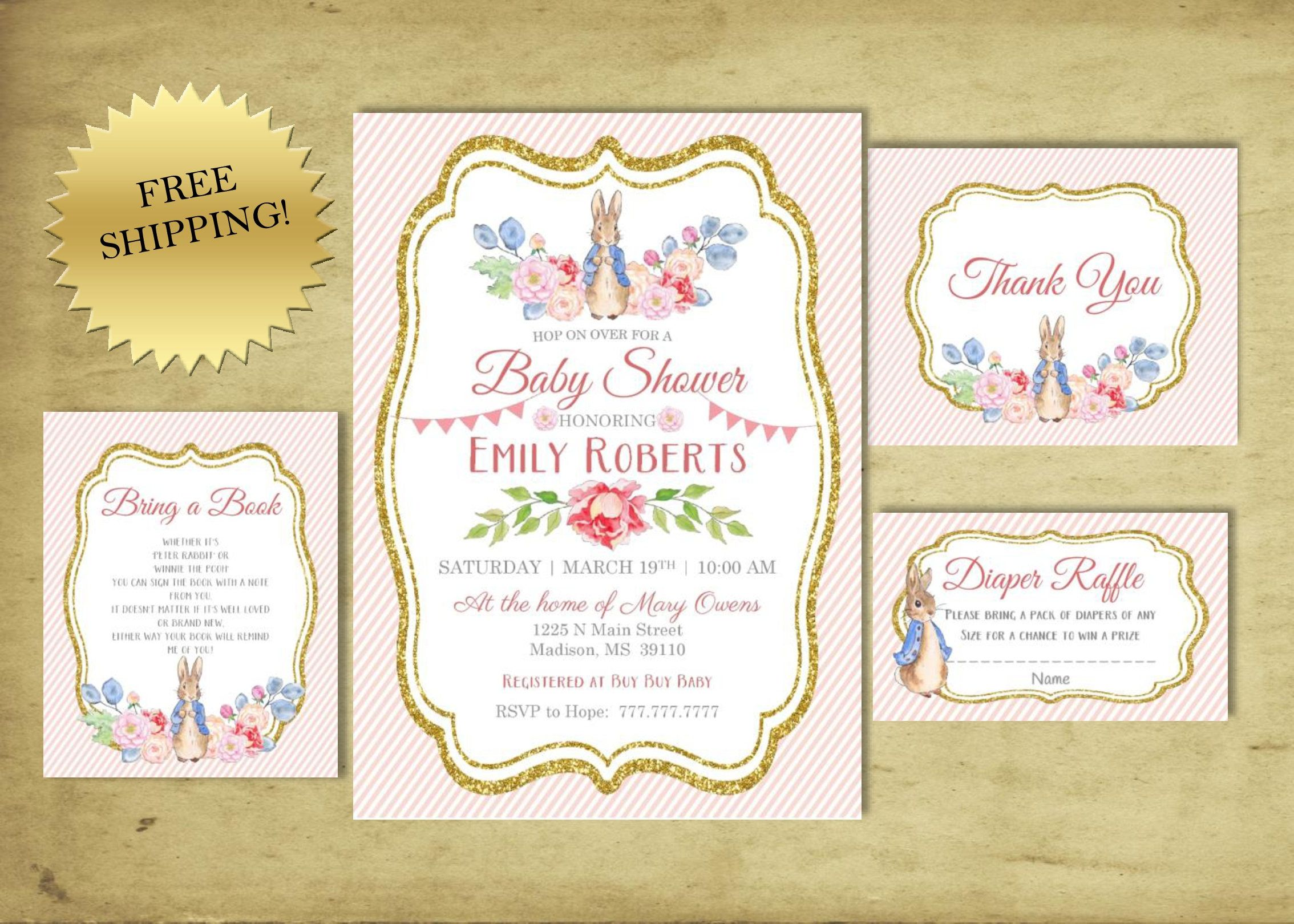 PETER RABBIT Baby Shower | Beatrix Potter | Invitation | Add Ons ...
