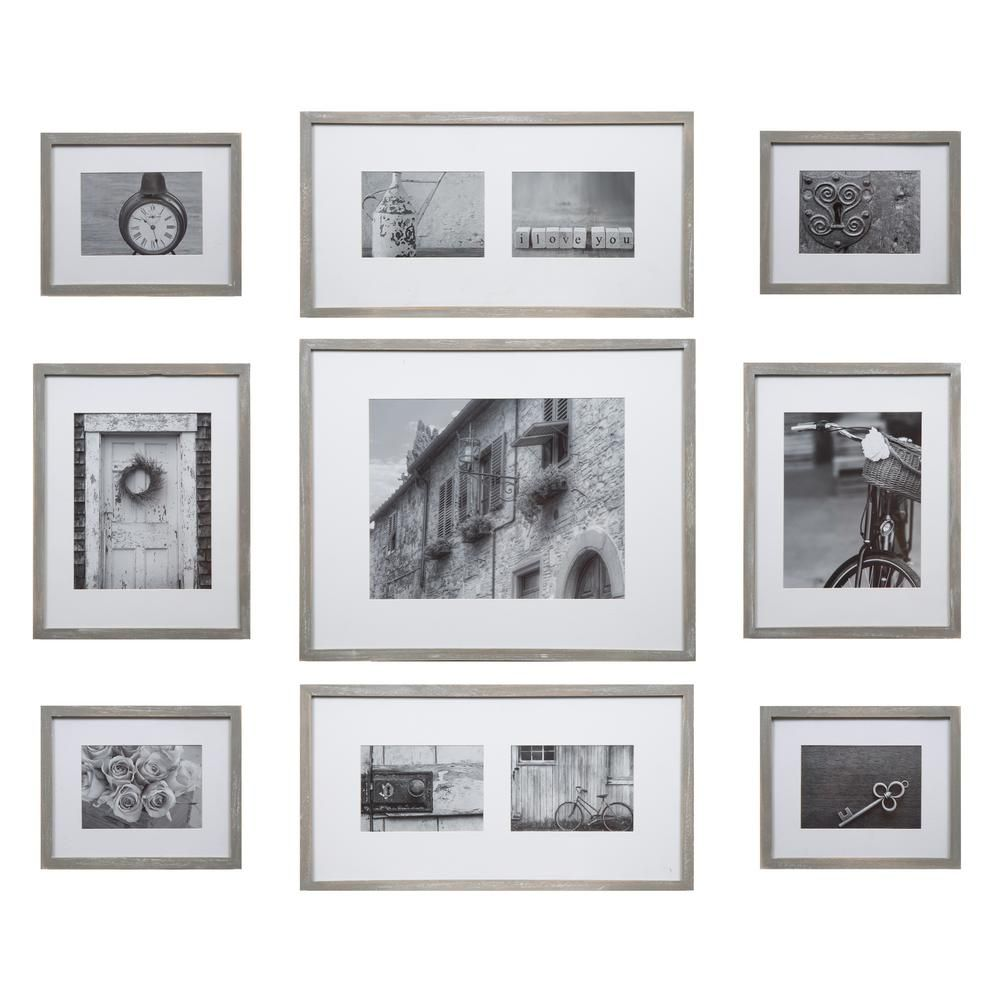 Pinnacle Gallery 11 In X 14 In 8 In X 10 In 5 In X 7 In Graywash Picture Frame Set Of 9 17fw2317 Photo Wall Gallery Frames On Wall Picture Frame Wall