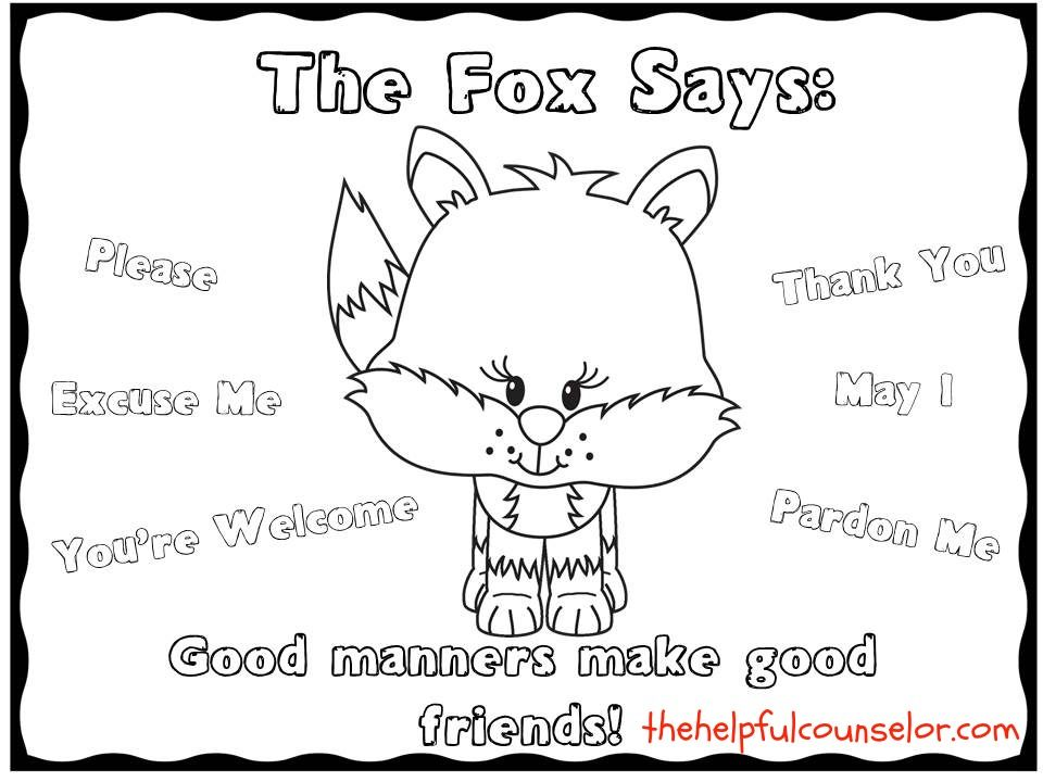 Free Good Manners Coloring Pages