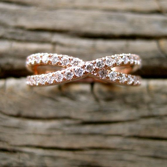 Infinity Symbol Sign Wedding Ring in 14K Rose Gold with Diamonds
