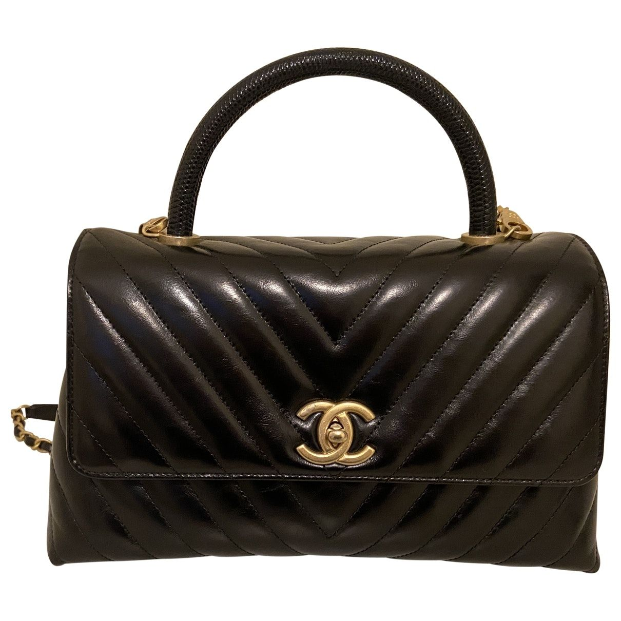 Stunning Chanel Coco Handle In Shiny Calfskin Leather With Black Lizard Handle Medium Size Aged Gold Hardwar In 2020 Leather Handbags Woman Bags Handbags Coco Handle