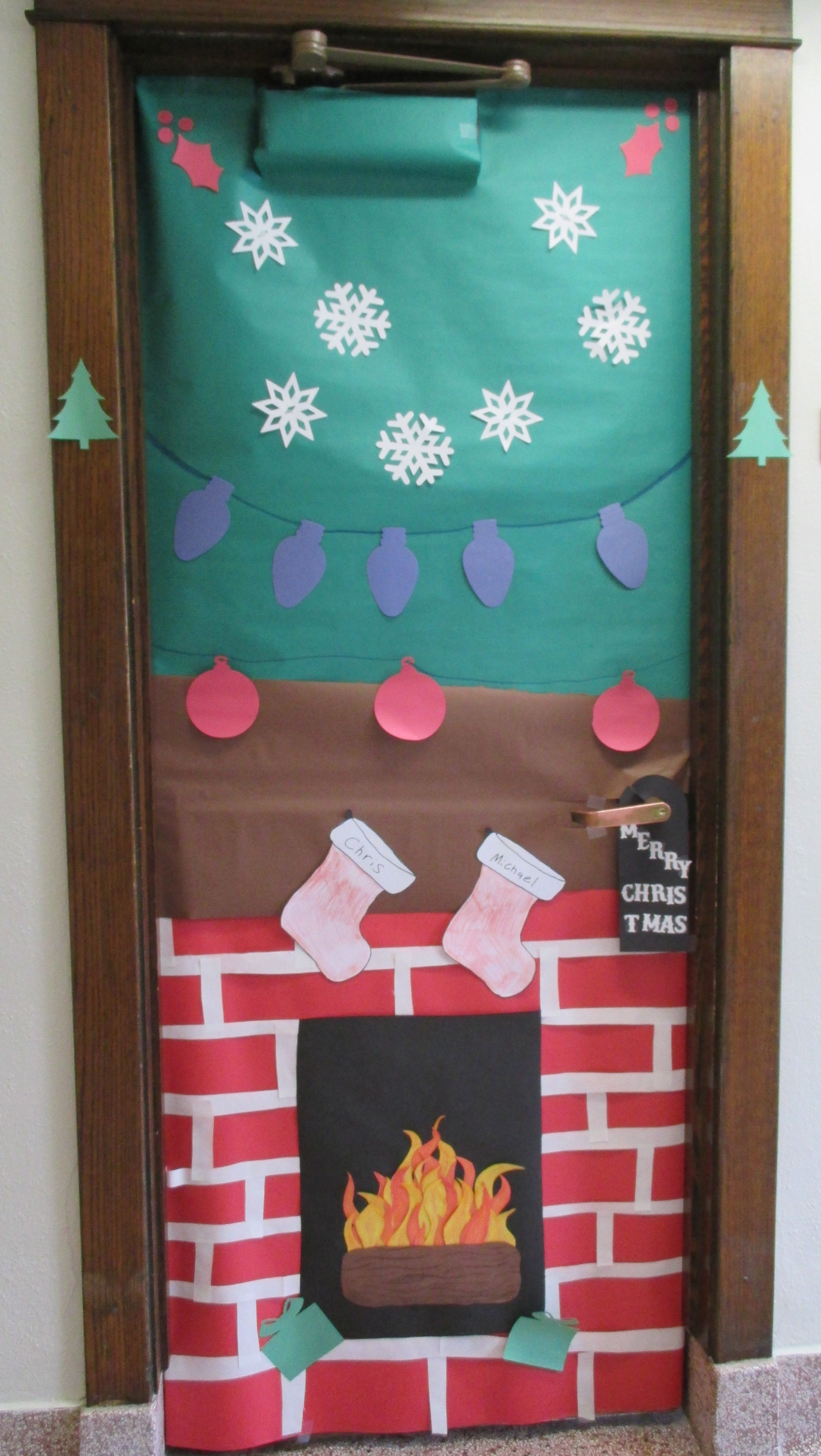Christmas Fireplace Door