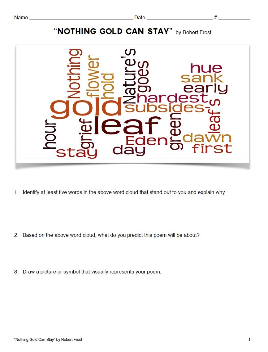worksheet Analyzing Poetry Worksheet poetry lesson nothing gold can stay by robert frost google is one of frosts classic poems about the transient