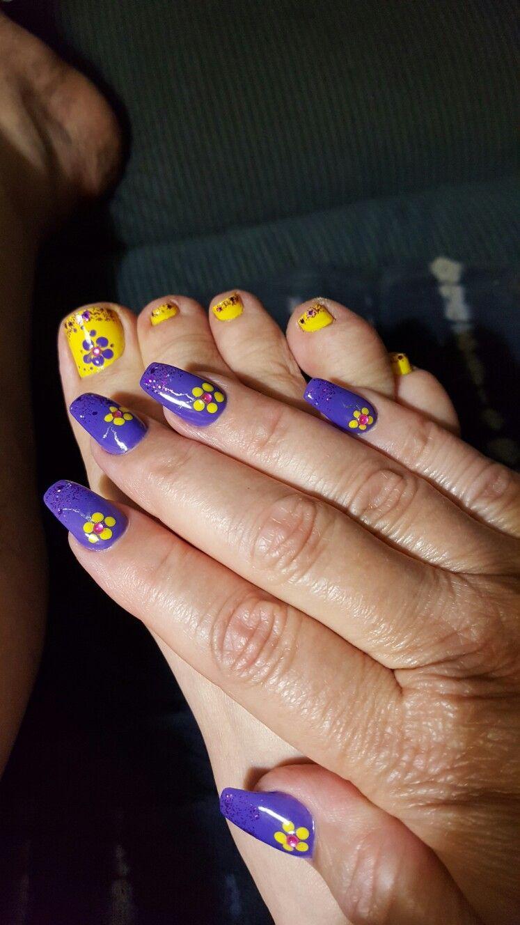 Purple And Yellow Natural Nails Nail Spa Nails
