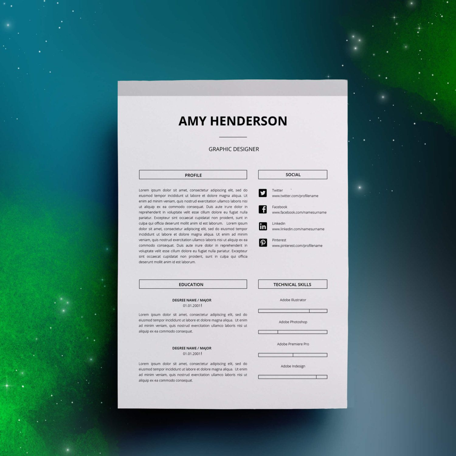Template For A Resume In Word%0A Modern Resume Template    pages   Cover Letter for Word   DIY Printable    Professional and Creative Resume Design   MAC or PC
