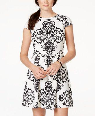 f570704aa4c B Darlin Juniors  Printed Fit   Flare Dress - Juniors Dresses - Macy s