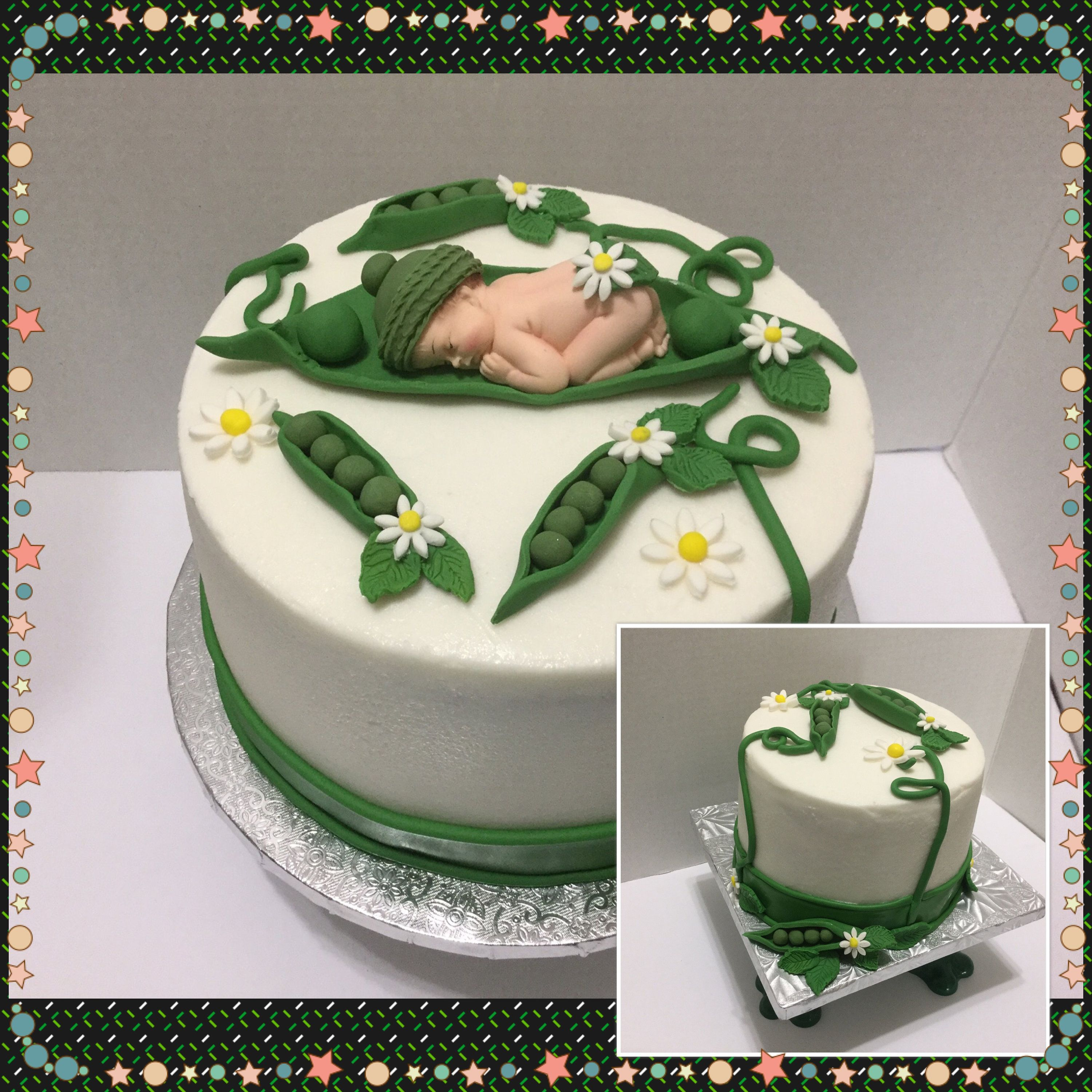 PEA IN A POD BABY DIAPER CUPCAKES SHOWER CAKE TOPPER