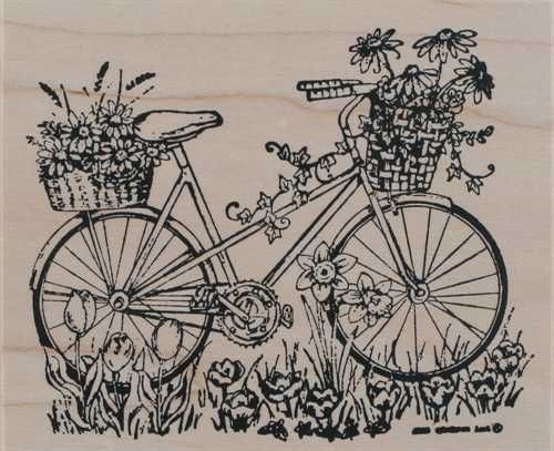 Fall Harvest Bicycle Bike Wood Mounted Rubber Stamp Northwoods Rubber Stamp New