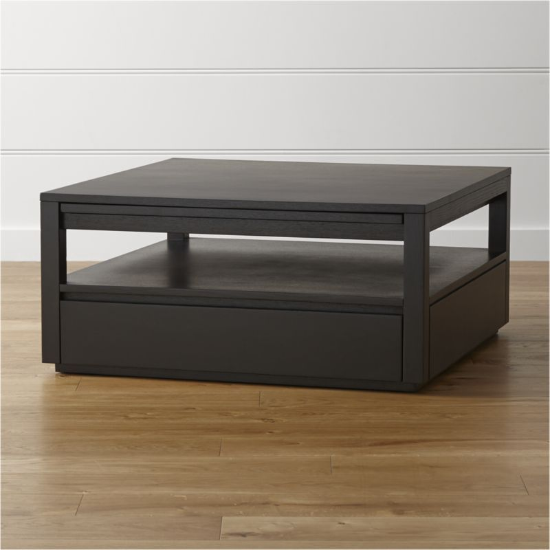 Shop Tourney Square Coffee Table Three Pull Out Shelves Two Side