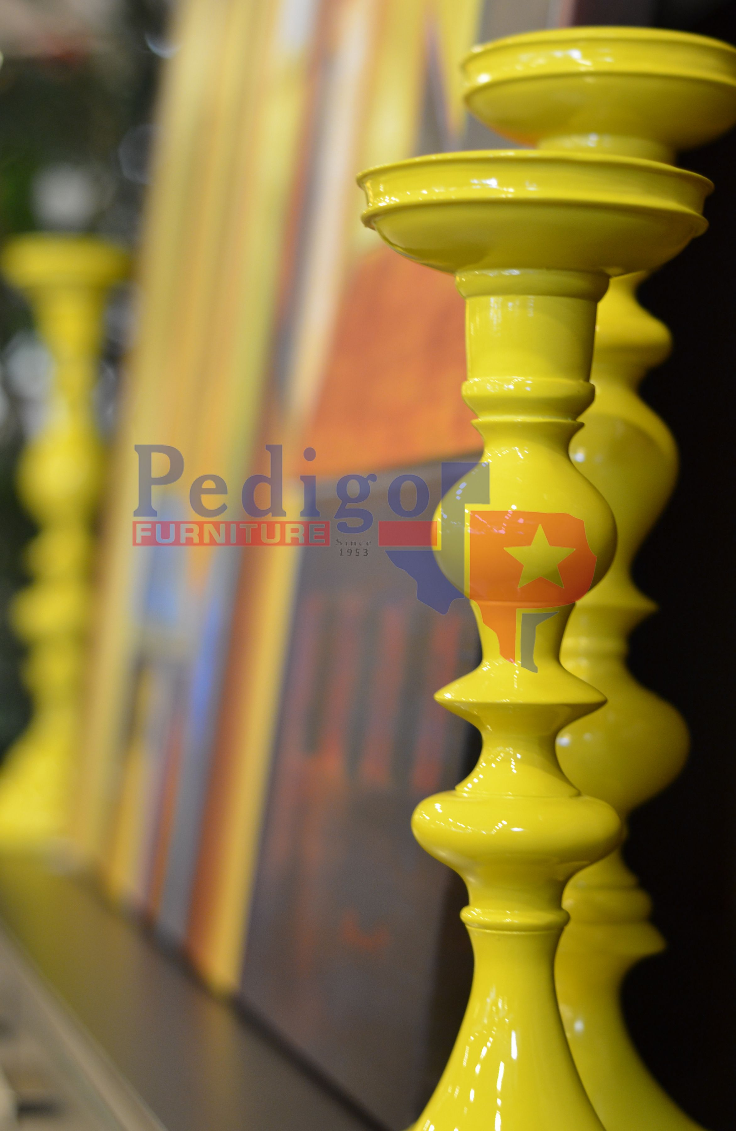 Bright yellow candle holdersr your viewing pleasure and it