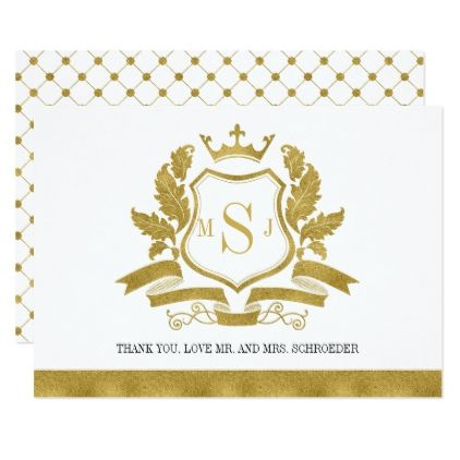 Classic Gold Crest Wedding Thank You Card Monograms Wedding