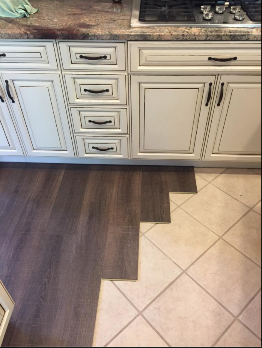 Coretec Installed Over Tile My New Love Affair Tile Floor Diy Vinyl Wood Flooring Floor Makeover