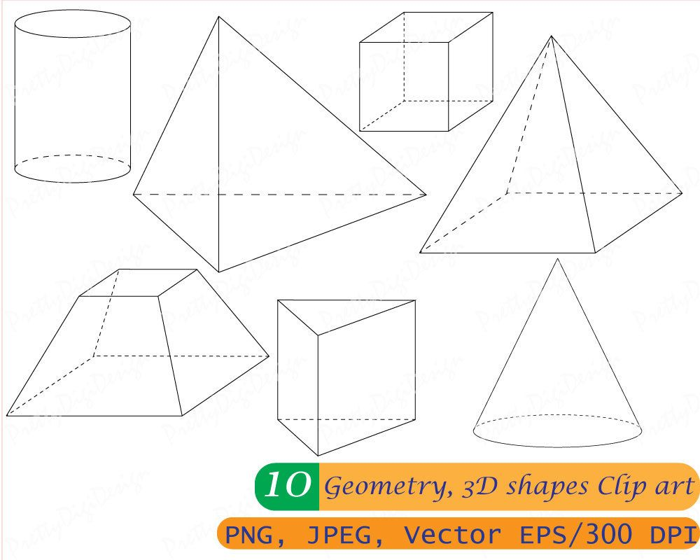instant download 3d shapes, geometry clip art, math shapes