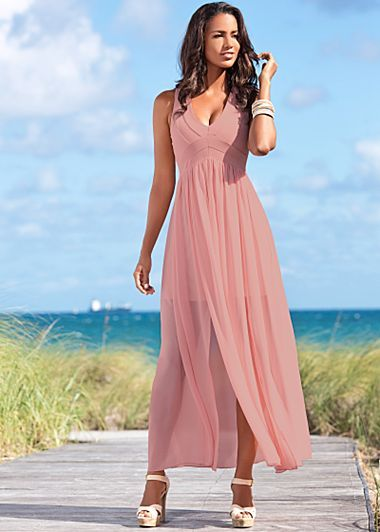 Double Slit Maxi Dress Canvas Platform Heel From VENUS Womens Swimwear And Sexy Clothing Order For Women