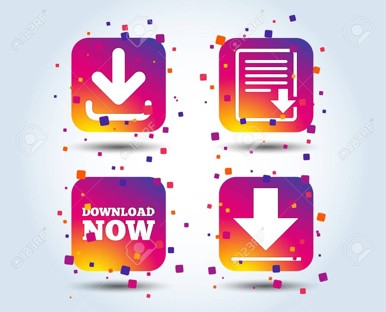 Download Now Icon Upload File Document Symbol Receive Data From A Remote Storage Signs Colour Gradient Square Buttons Flat D Concept Design Symbols Concept