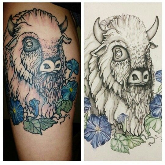 White buffalo tattoo with blue morning glories. Original artwork by ...