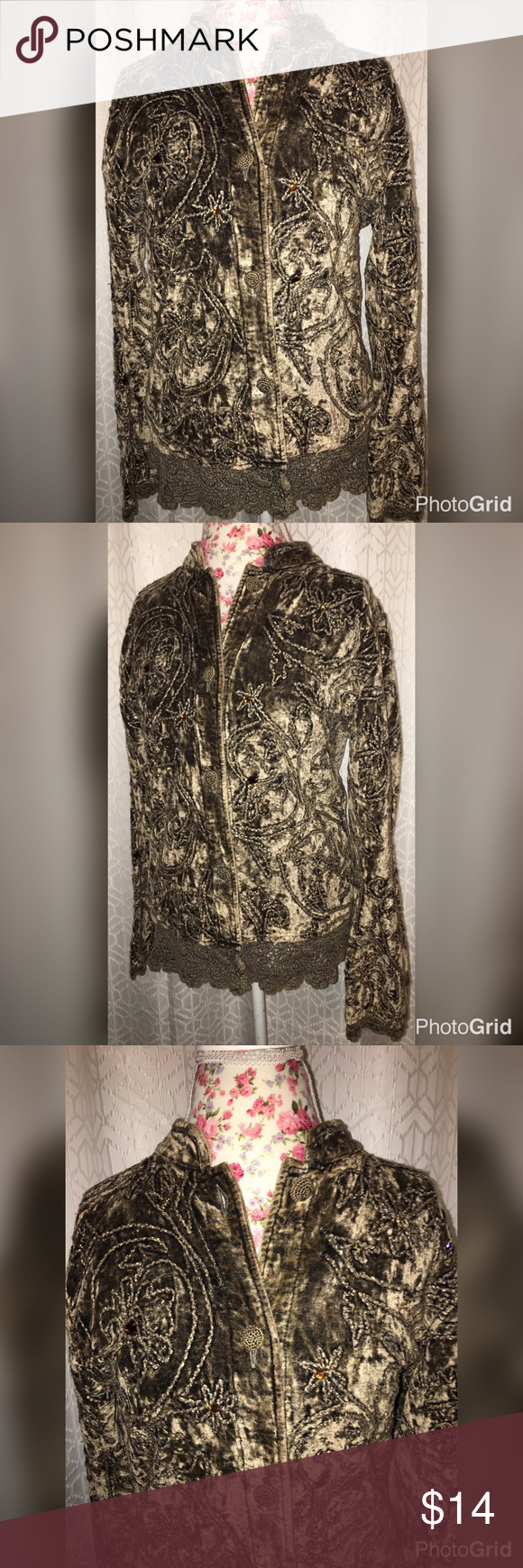 NWOT FLASHBACK VINTAGE BROWN INTRICATE JACKET LG This jacket is made by flashback and it really does bring you back to the age of beauty and detail it is a brown sweater with intricate details all throughout it 21 inches across the chest and it is a button up sweater and it has beautiful crochet along the bottom and the sleeves it's a size large and is 27 inches from the shoulders and in excellent condition! Flashback Jackets & Coats Blazers