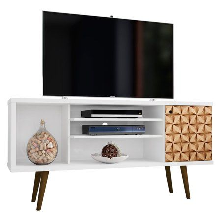 Liberty 53 14 Mid Century Modern Tv Stand With 5 Shelves And 1 Door In White And 3d Brown Prints Walmart Com Mid Century Modern Tv Stand Modern Tv Stand Modern Tv