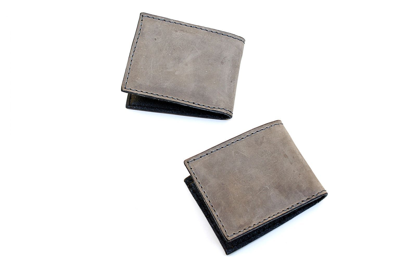 Leather Bifold, Grey Leather Billfold, Gray Leather Wallet