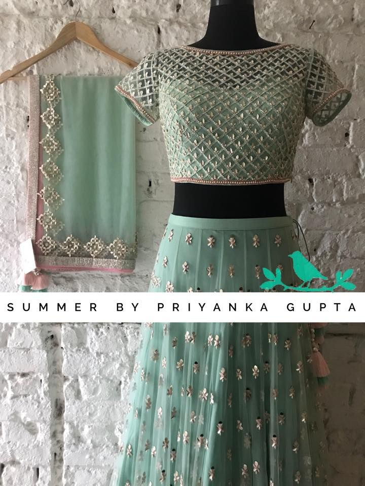 Gorgeous light mint green color lehenga and blouse with net dupatta hand embroidery bead kundan work september also rh pinterest