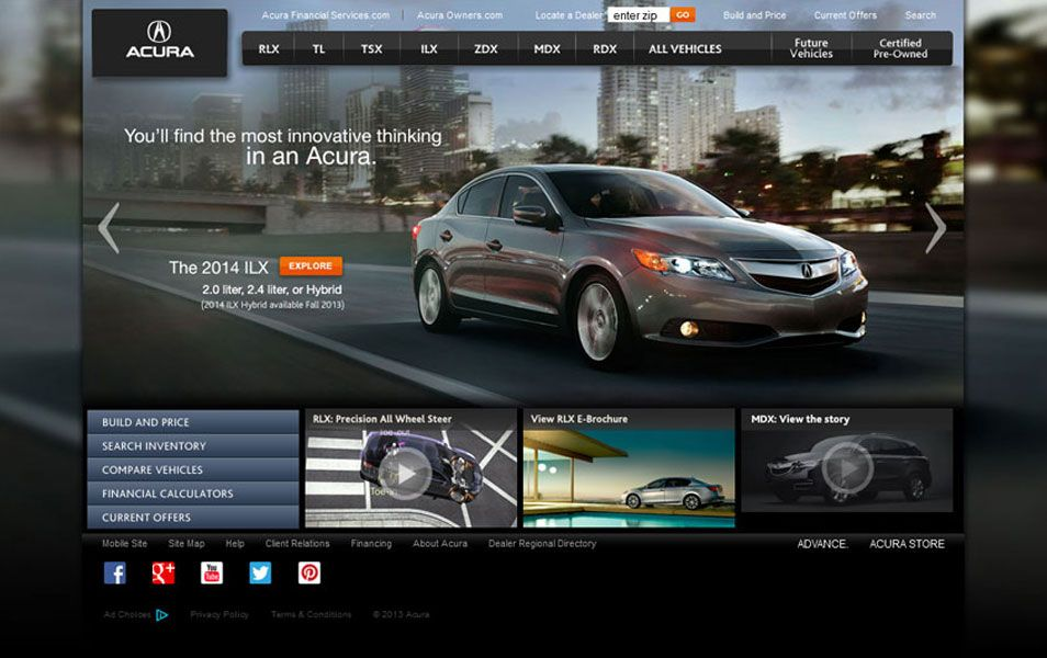 Acura Website on volkswagen website, john deere website, nissan website, infiniti website, lexus website, land rover website, porsche website, aston martin website, honda website,