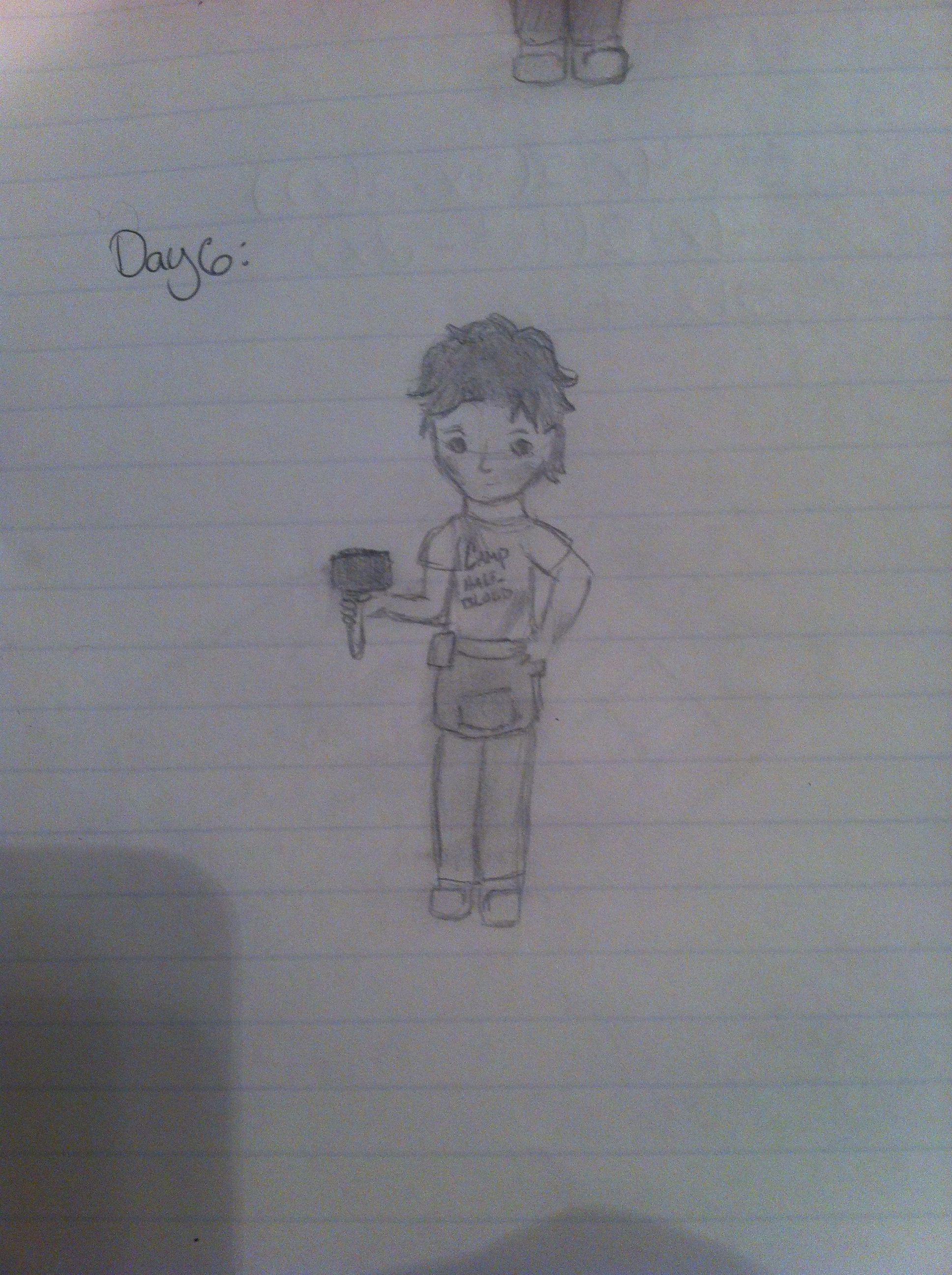 Day 6: draw your favorite book character (no movies); leo valdez, The Heroes of Olympus series