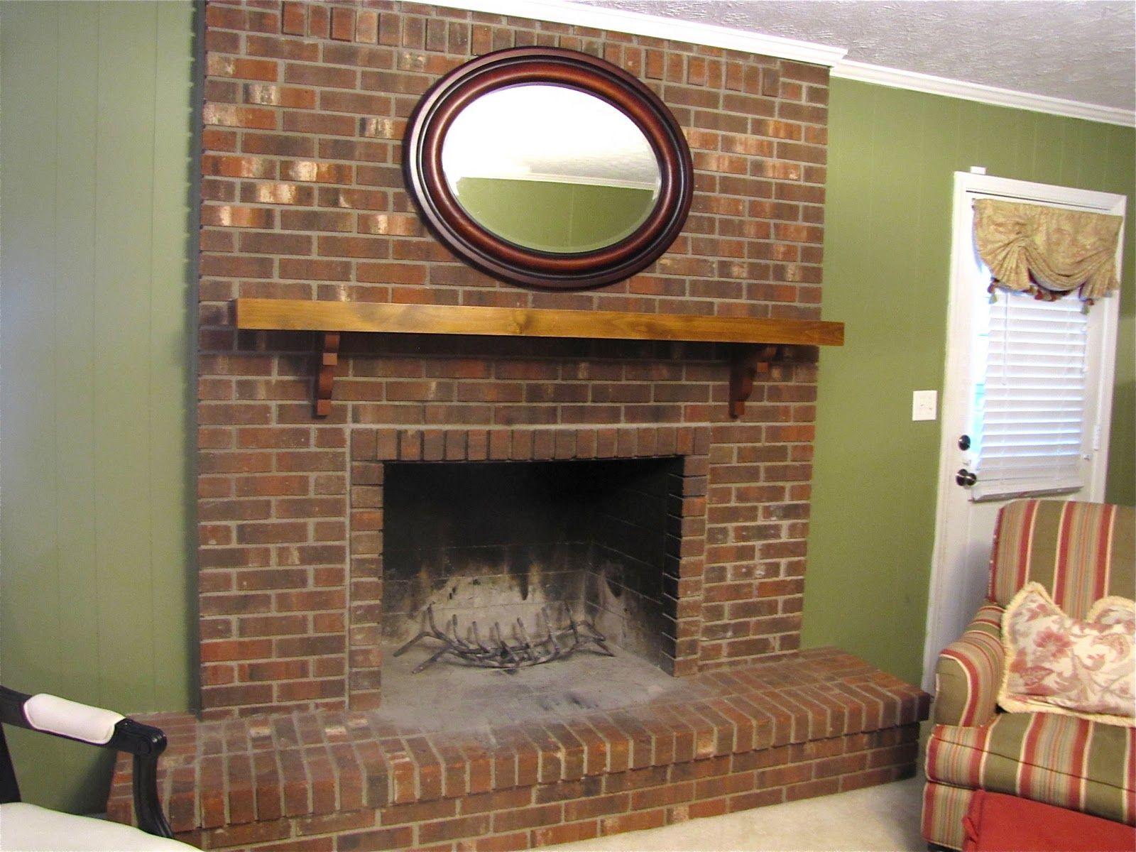Brick fireplace mantel makeover fireplaces pinterest brick