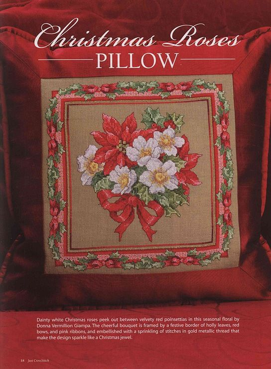 1/5 -- XMAS ROSES Coixins Pinterest Xmas, Cross stitch and