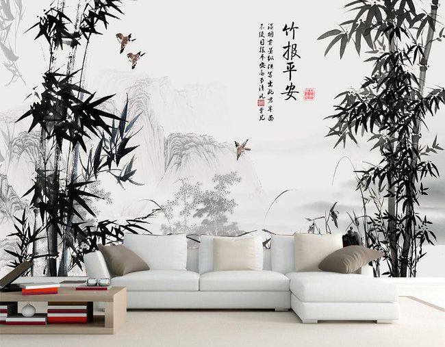 peinture l 39 encre de chine en noir et blanc paysage. Black Bedroom Furniture Sets. Home Design Ideas