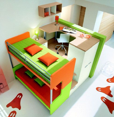 bunte Kinderzimmermöbel kräftig grün orange | kids room ideas ...