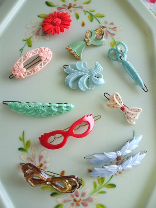 Vintage Hair Barrettes Pair of Pale Blue Flower Barrettes Made in England