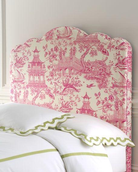 simple bedding with a fun bright headboard
