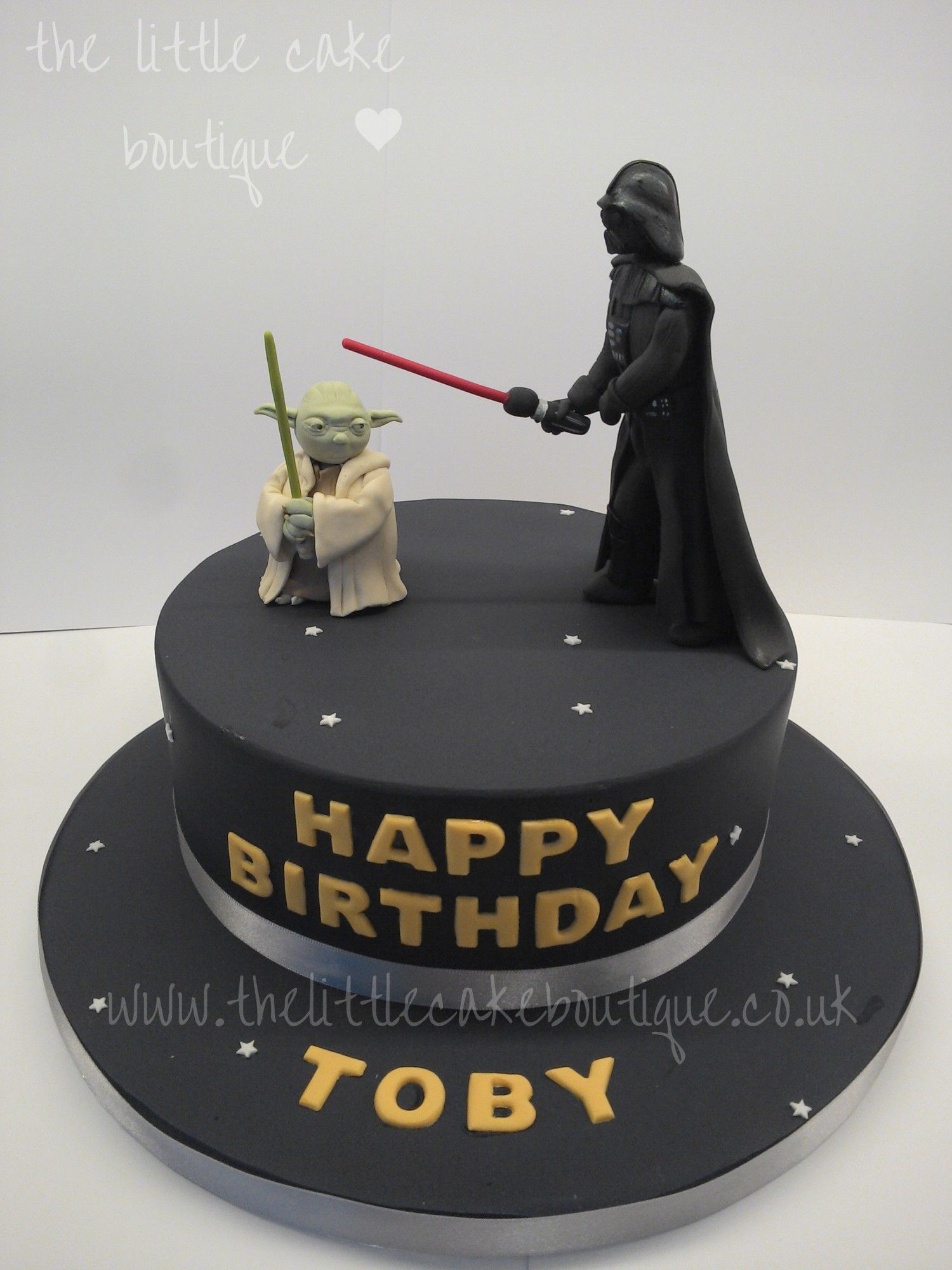 Astounding Star Wars Birthday Cake With Handmade Sugar Darth Vader And Yoda Birthday Cards Printable Trancafe Filternl