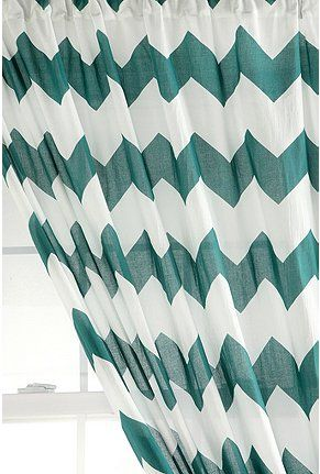 Teal and white chevron curtains from Urban Outfitters