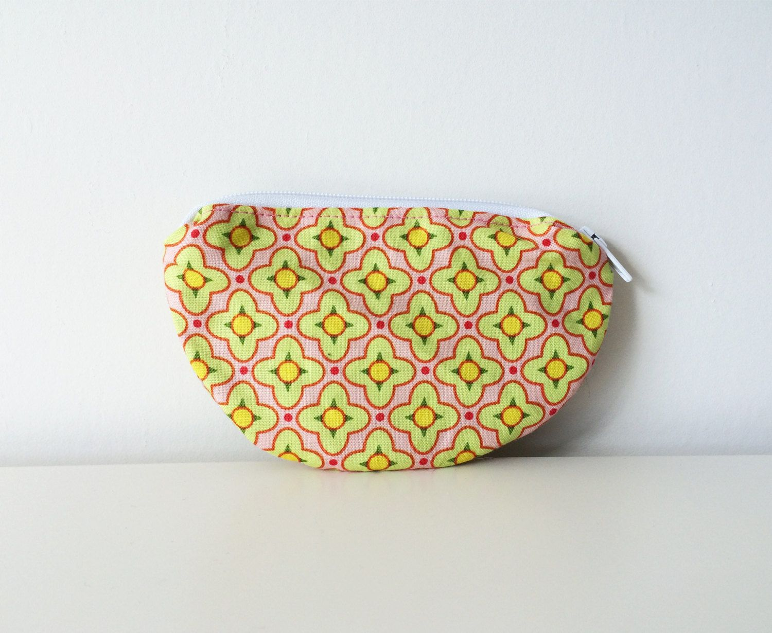 Zipper Coin Pouch - Small Pouch, Semi Circle - Pink, Green, Yellow - Girl Patterned Floral Pouch - Mini Bag - Lined - Change Purse by BlackcatmeowDesigns on Etsy