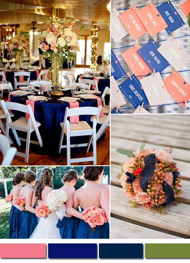 Royal Blue And Coral Pink Wedding Color Ideas And Wedding Decoration
