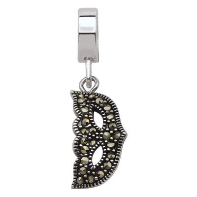 Persona® Black Label™ Sterling Silver Marcasite Masquerade Mask Dangle Bead  - Peoples Jewellers