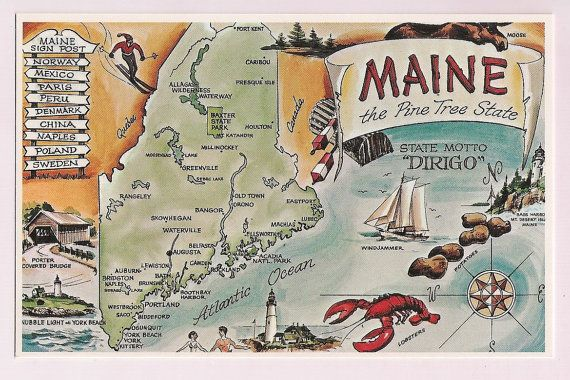 Maine Map Postcard Vintage Travel Map Vintage Postcards VPR - Sweden maine map