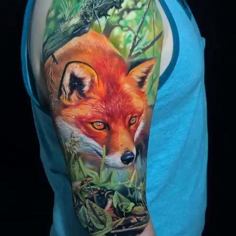 Color Realismo Brazo Tatuaje #realismtattoo #colourtattoo #skingiants #tatuador #tattoolove  Fox