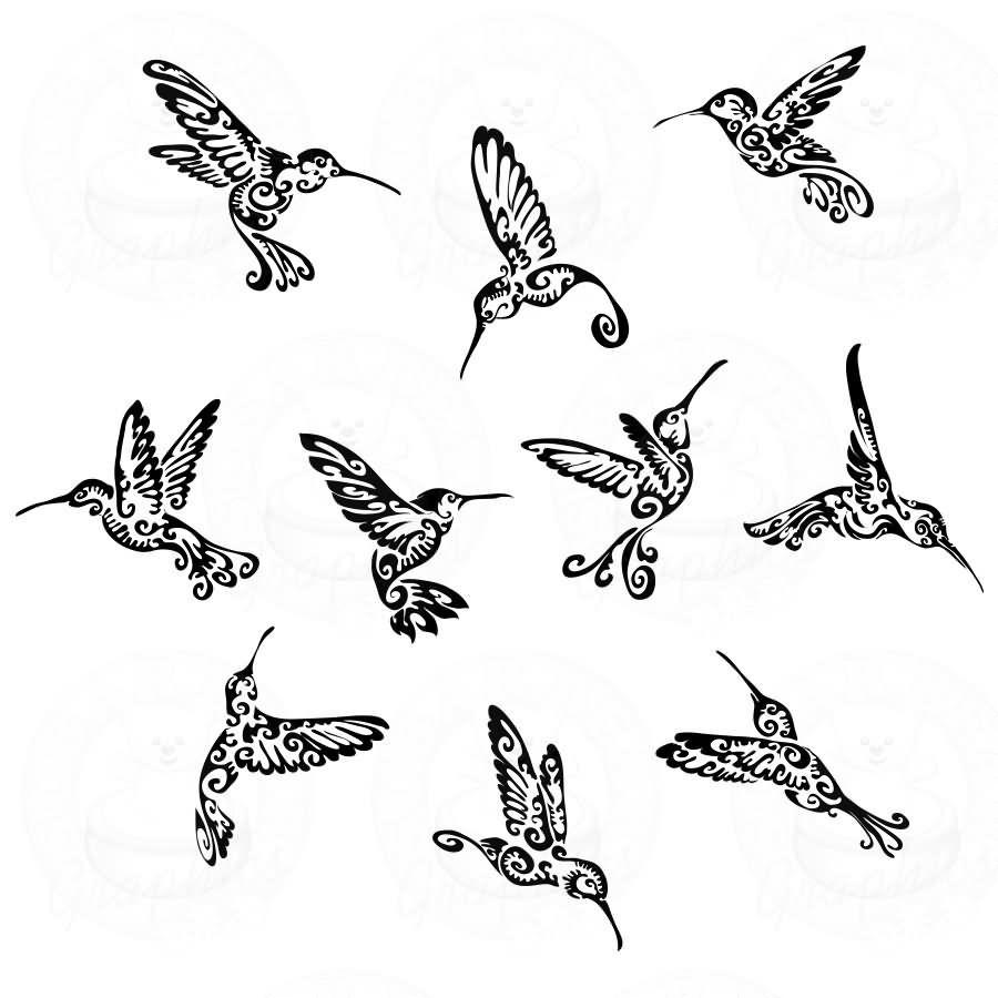 89b6847d0 Black Tribal Hummingbirds Tattoo Flash | hummer art | Hummingbird ...