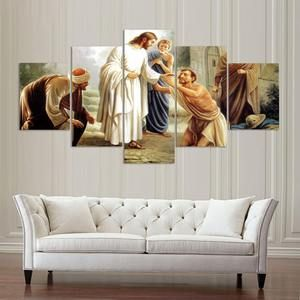 Jesus Wall Art Jesus Canvas Art Large Jesus Wall Decor Jesus Healing The Sick 5 Piece Canvas Art Framed Jesus Wall Art Online Wall Art Wall Canvas