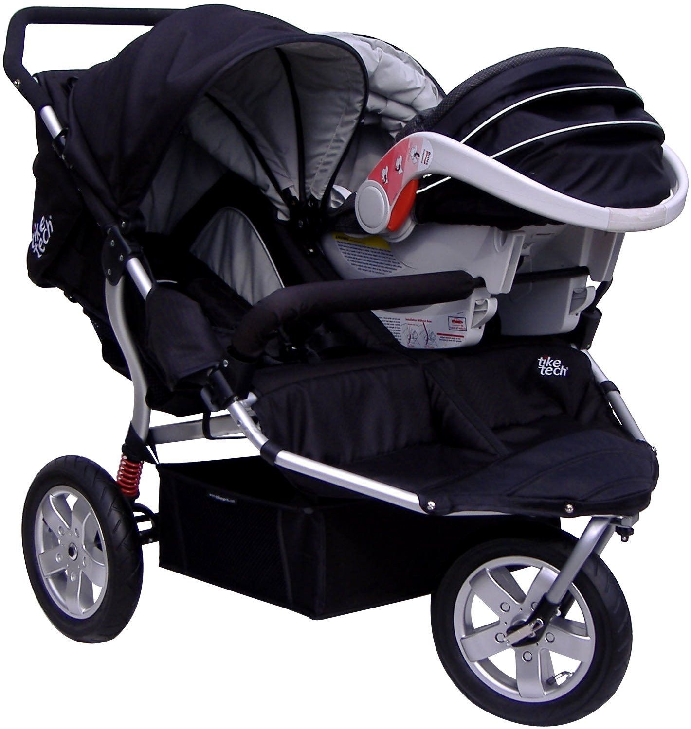 Tike Tech Double Stroller Car Seat A… i am so doing this